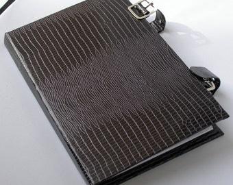 Padfolio - Black mock crocodile skin - Handmade notepad holder - Business card holder and mirror