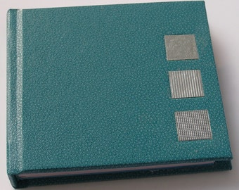 Mini turquoise notebook - Handmade notebook - Small notebook - Blank unlined pages - Silver square design - Silver inlays