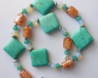 Water and sand gemstone handmade necklace  297