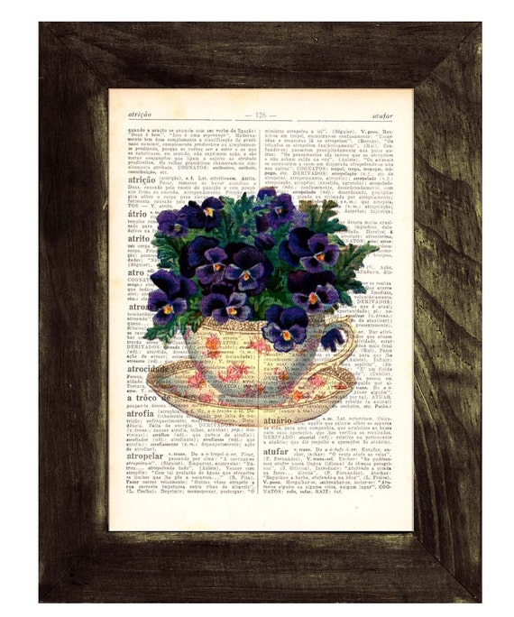 Vintage Teacup with pansies bouquet print on dictionary book wall art book print TVH133
