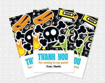 Rock Party Thank You Tags, Printable file, Personalized, retro