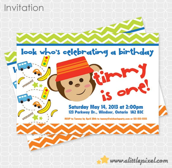Party Printable Monkey Boy Invitation - Personalized Printable - car, banana, traffic light, fun, birthday, first birthday