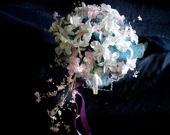 80s Bridal Bouquet Faux Silk Orchids Flowers Teal White Mauve