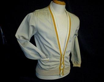 50s S Cardajac Mens V Neck Jacket Sweater Cardigan Taupe Beige