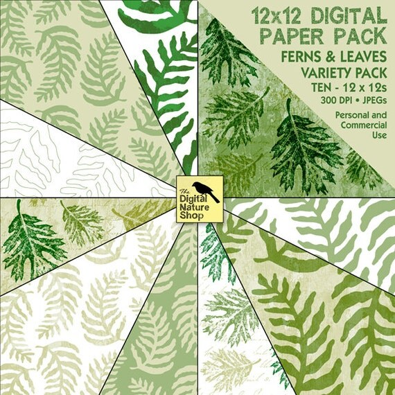 Ferns and Leaves - Digital Paper Pack - INSTANT DOWNLOAD - for Cards, Scrapbooking, Invites, Journaling, Crafts, Collage and More
