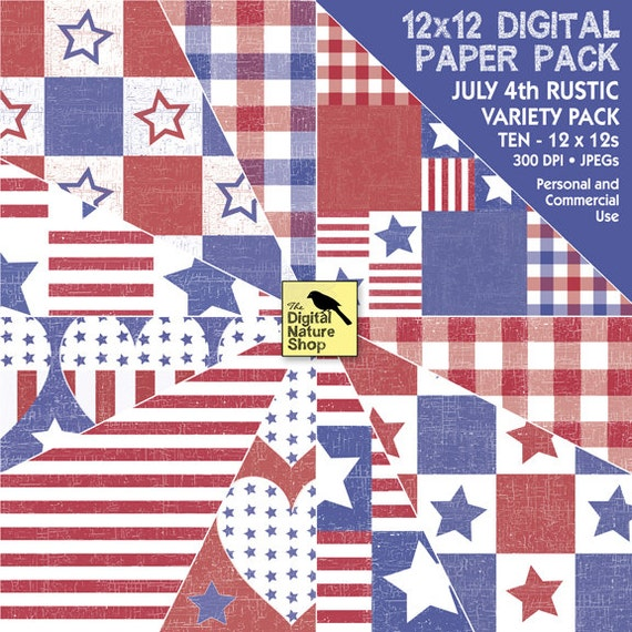 JULY 4th - Rustic - Digital Paper Pack - INSTANT DOWNLOAD for Scrapbooking, Invites, Collage, Cards, Decoupage and More