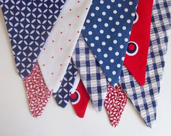 Bunting 4th of July Banner / Fourth of July Banner /Red, White and Blue Patriotic Banner/  READY to SHIP /  Patriotic Photo Prop
