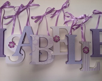Wooden  nursery letters in  lavender and white  alphabet initials monogram