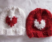 Knitted Newborn Hat // White or red with Valentines heart