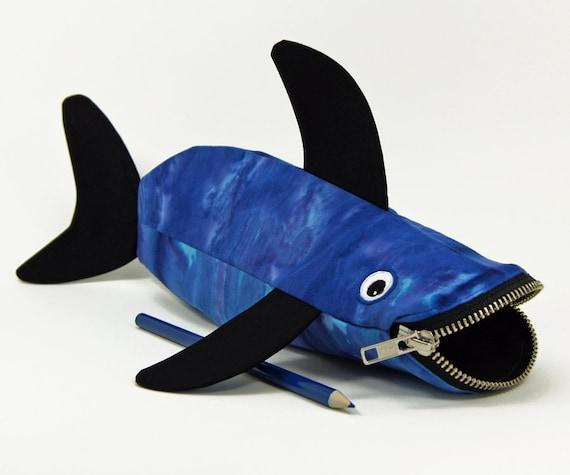 Shark Pencil Bag by MinneBites / Handmade Pencil Case - Boys Gift - Tie Dyed Blue - Fish Bag - Kids Art Storage - Gift for Guys