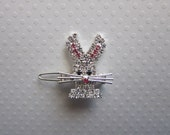 SpArKLeY Easter Bunny Rhinestone Metal Barrette Hair Pin Hair Clip for Teens or Women