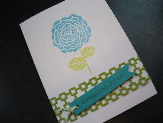 Congratulations Card, Blue Camellia
