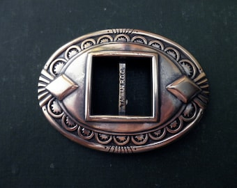 silver Chambers western cowboy belt buckle - oval, supplies