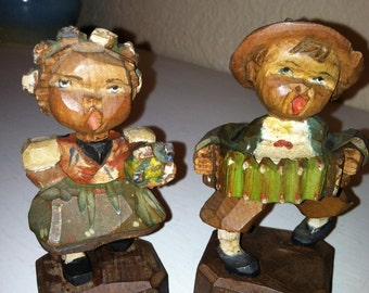 Hand carved Wooden Alpine Boy and Girl