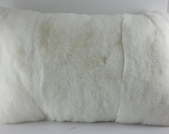 Real Genuine White Rex Rabbit  Fur Pillow  new made in usa authentic fur cushion
