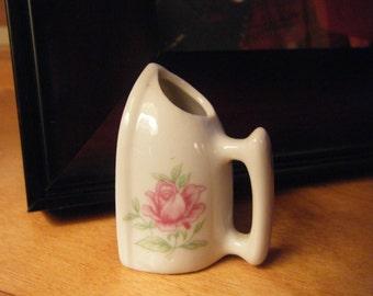 Mini Porcelain Iron,  VTG  Rose Iron, Laundry Room Decor, Shabby Chic Decor , Romantic Decor
