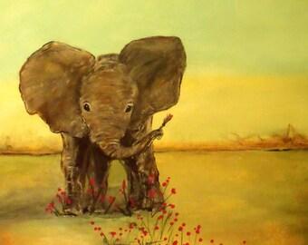 Kids Elephant Nursery Wall Art - 2 sizes Baby Nursery Art Print