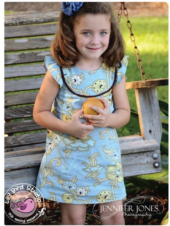 Lily Bird Studio PDF Sewing Pattern - Kate's Dress - 12 mths to 10 yrs -  A-line, 2 yoke options, lined bodice FREE Shipping