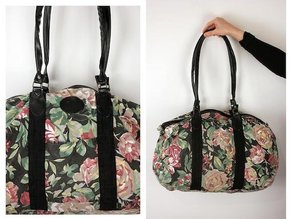 Vintage Vegan Fabric Duffel Bag, Luggage Carrier, Weekend Bag, On Trend