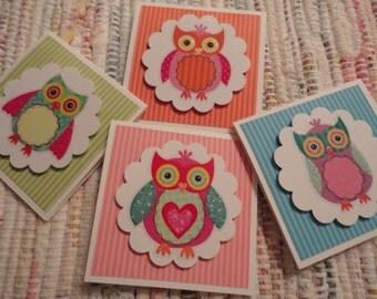 Owl mini Cards Set of 4