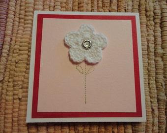 Crocheted Flower Mini Cards  Set of 4