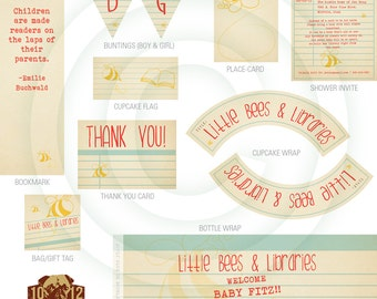 Little Bees and Libraries - Printable Baby Shower Party Kit