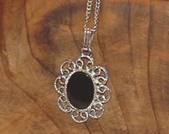 SALE Vintage Sarah Coventry Silvertone Pendant Necklace Filigree with Black Cabochon