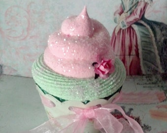 Fake Cupcake Marie Antoinette Let Them Eat Cake Photo Props and Home Displays, Victorian and Shabby Cottage Cupcake Decor