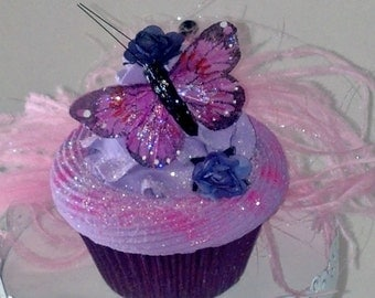 Fake Cupcake Photo Prop with Butterfly and Roses, Home Accents, Tea Party Displays, Cupcake Decor