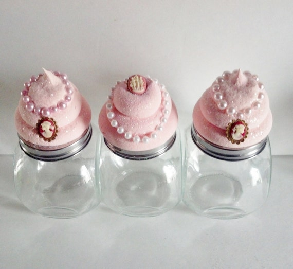 Cupcake Canisters For Kitchen: Set Of 3 Cameo Cupcake Canisters Jars By FakeCupcakeCreations
