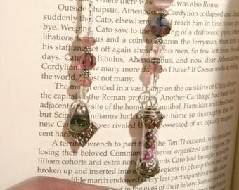 Beaded BookMark - Victorian Valentine Amethyst Vial of Secrets BookMark