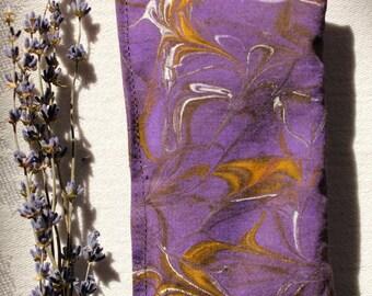 Lavender Sachet, Hand-Painted Purple with Yellow Swirls