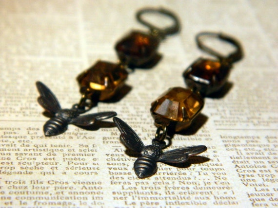 Swarm of Bees - Vintage Light and Dark Brown Topaz Glass Jewels and Blackened Brass Bee Dangle Earrings