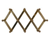 Brass Accordion Wall Rack / Vintage Peg Hooks / Adjustable Coat Rack