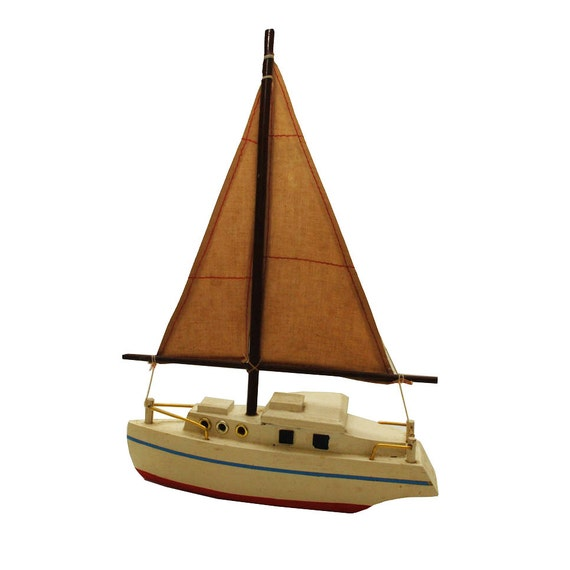 Vintage Sailboat / Mid Century Toy Boat / Wooden by midmoderngoods