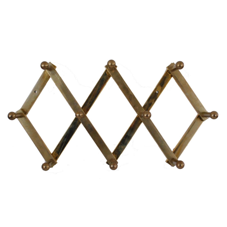 Brass accordion wall rack vintage peg hooks adjustable for Wall pegs and racks