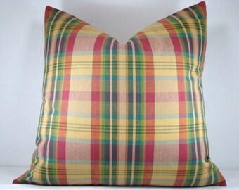 Plaid Decorative Pillow Accent Pillow Rustic Woven Plaid Pillow Toss Pillow 18x18 Pillow Cover