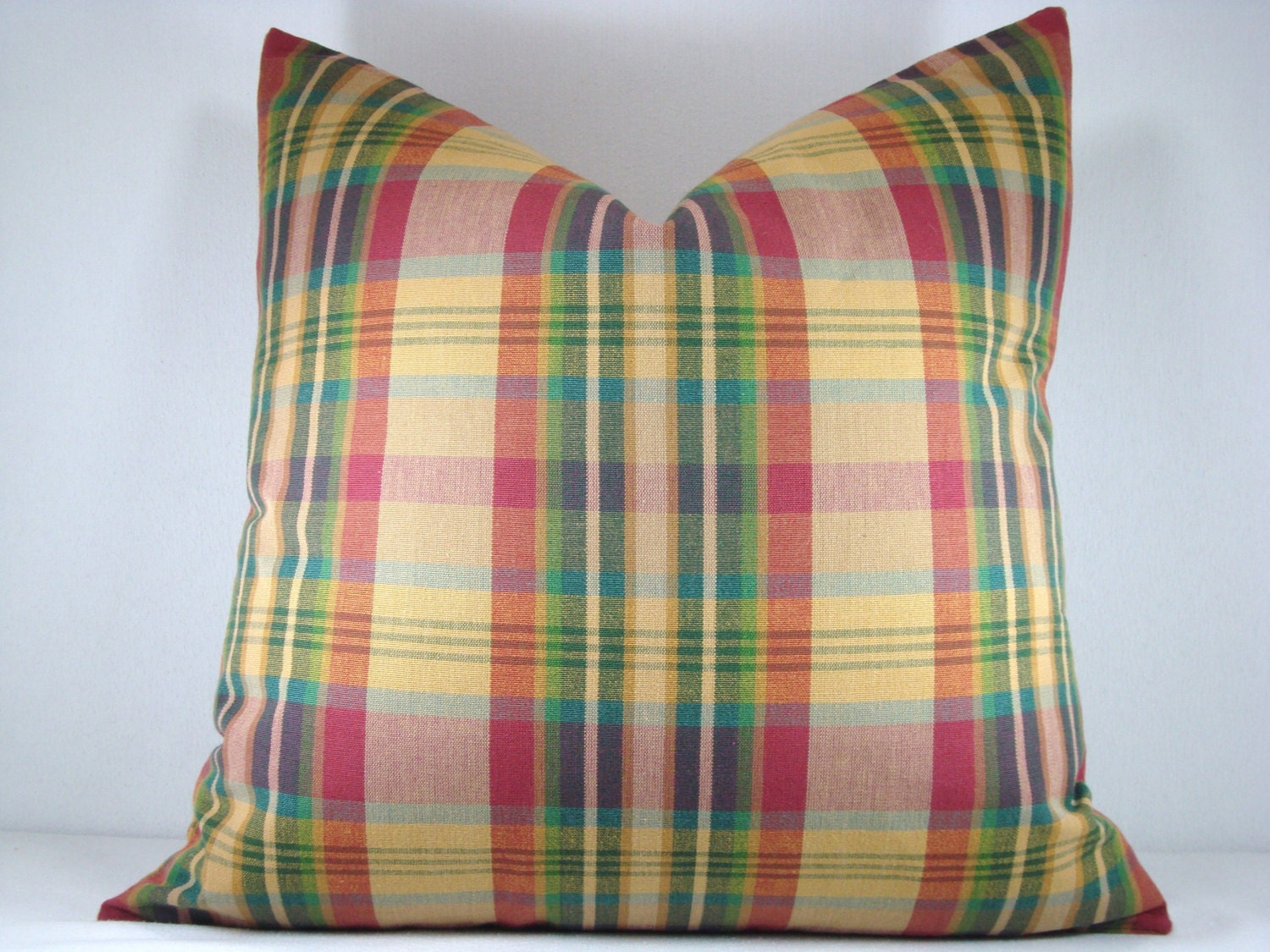 Decorative Plaid Pillows : Plaid Decorative Pillow Accent Pillow Rustic Woven Plaid