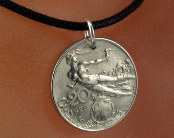 ITALY necklace - Art Nouveau pendant - ITALY coin jewelry  - flying nude -  centesimi  -  partsforyou No.001332