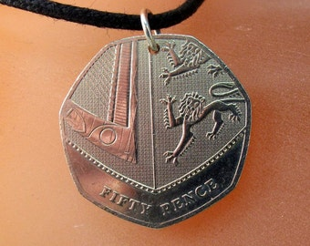 UK necklace. England gift. COIN JEWELRY necklace pendant .  2008 No.001346