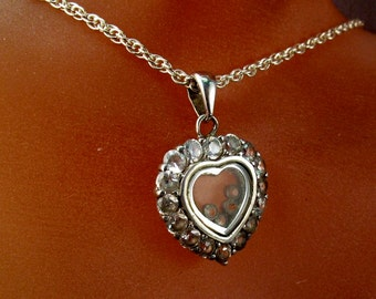 RESERVED         VINTAGE HEART necklace. sterling. stones. sweetheart No.001818 H