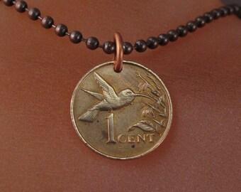 HUMMINGBIRD necklace.Bird Jewelry. Hummingbird Jewelry.Hummingbird Charm.Bird lover Gift.Bird coin necklace,Trinidad .Tobago No.001188
