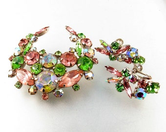 RHINESTONE brooch and earrings  Paste Faceted Glass. crescent Brooch Pin. pink green  NO.00201