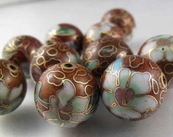 brown CLOISONNE BEADS. old vintage chinese cloisonne.    No.001469