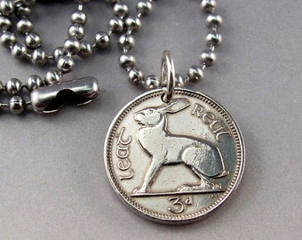 1966 NECKLACE -  IRELAND coin jewelry -  celtic rabbit  No.00925