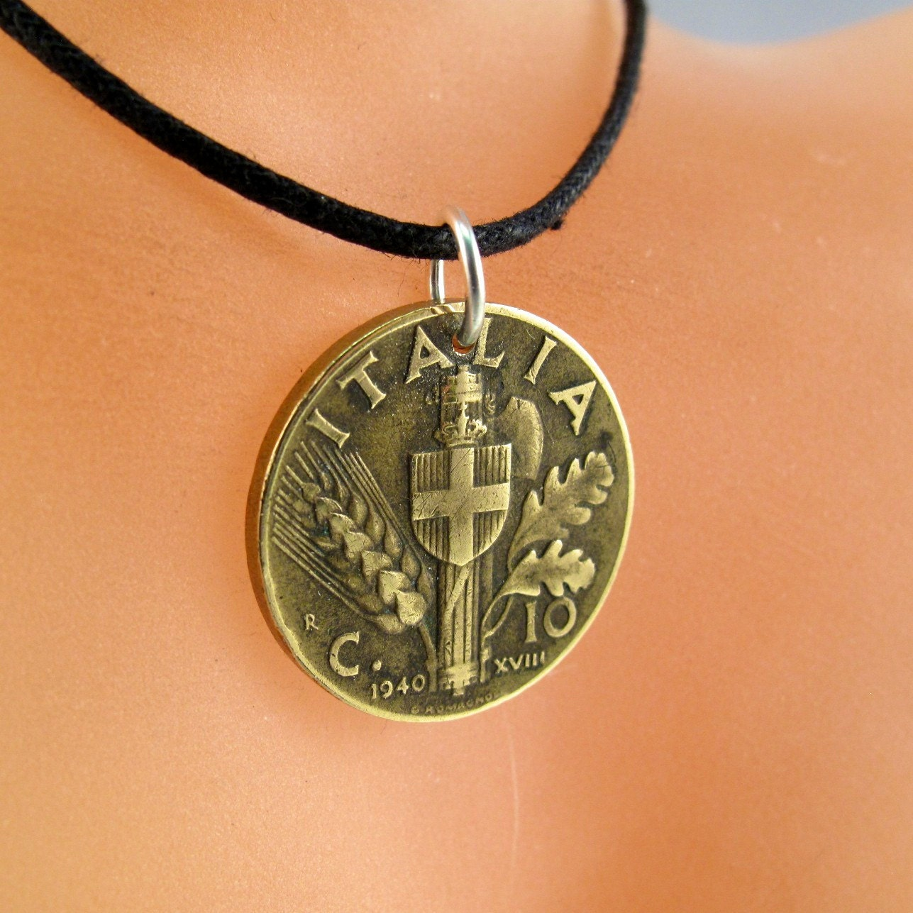 italian coin necklace italy coin jewelry pendant italia