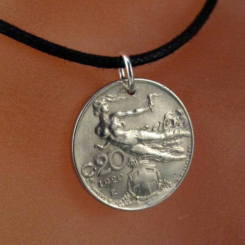 italy necklace nouveau pendant italy coin jewelry