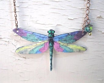 Purple Teal Pink Yellow Green Pastel Dragonfly Necklace Insect Jewelry Trending