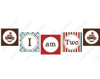 INSTANT DOWNLOAD diy Sock Monkey  Light Blue Birthday Printable Party High Chair Banner  red brown cream blue  I am one 1