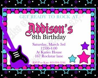 DIY Rockstar Girl Birthday party PRINTABLE Invitation 4 pink black purple teal guitar rock star